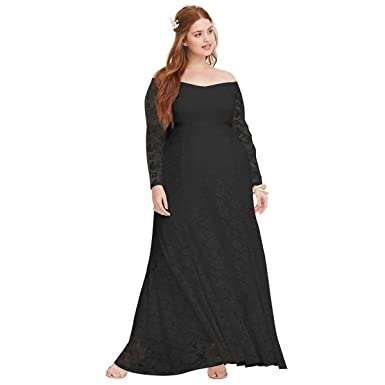 5474107915e1 Fashion Elegant Evening Maxi Dress Sexy Lace Off Shoulder Long Sleeve Long  Dress Plus Size Fmeijia at Amazon Women's Clothing store: