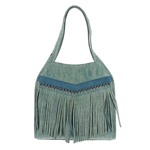 Boho-Chic Vacation & Fall Looks - Standard & Plus Size Styless - Steven By Steve Madden Gibson Front Fringe Hobo Bag Blue