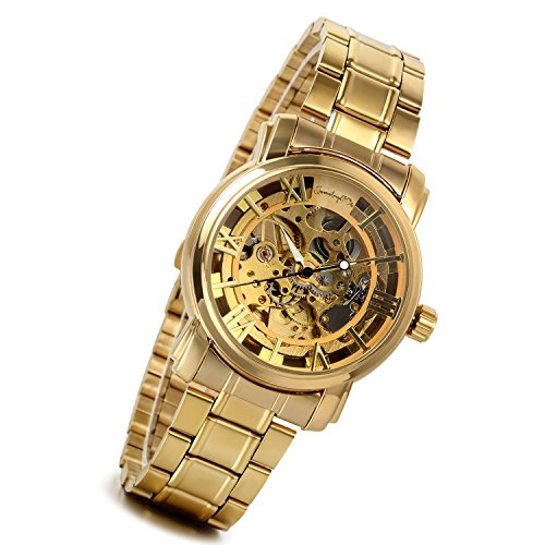 (Men's Automatic Mechanical Skeleton Roman Numbers Watches Gold Tone Stainless Steel Band Wrist Watch with Transparent Case Back)