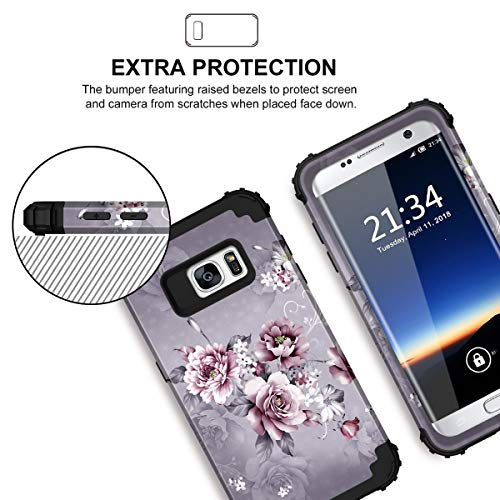 Hocase Galaxy S7 Case, SM-G930 Case, Heavy Duty Shockproof Hard Plastic+Silicone Bumper Full Body Protective Phone Case for Samsung Galaxy S7 G930 with Cute Flower Design - Light Purple Flowers