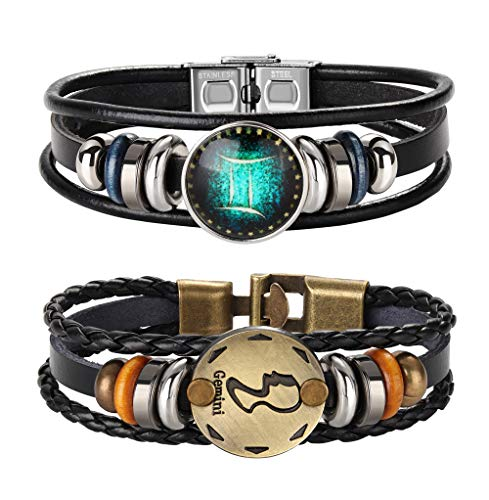FIBO STEEL 2pcs 12 Zodiac Constellation Bracelets Braided Leather Bracelet Retro Hand Woven Punk Chain Cuff Gemini ()