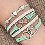 LovelyJewelry Leather Wrap Bracelets Girls Double