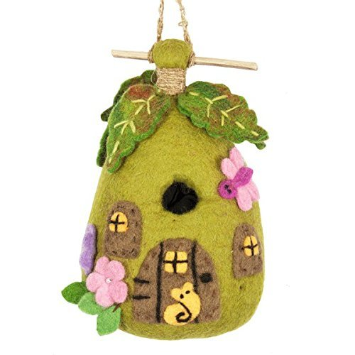 Garden-themed, fabric birdhouse.