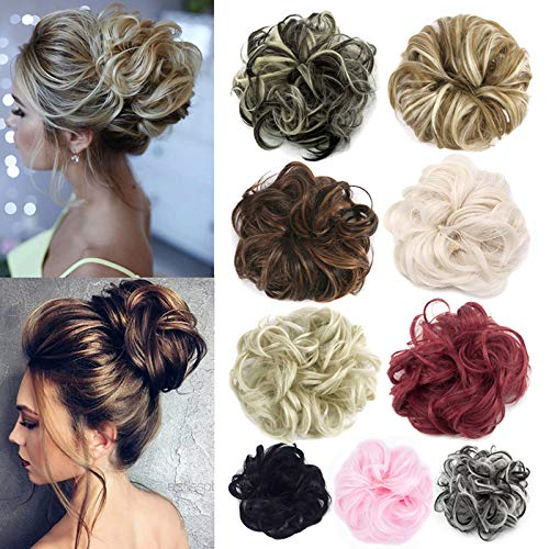 FUT Scrunchy Scrunchie Hair Bun Updo Hairpiece Ponytail Hair Extensions Wavy Curly Messy Hair Bun Extensions Donut Chignons Hair Piece ash blonde -