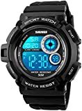 Mens Military Multifunction Digital Watches 50M Water Resistant Electronic 7 Color LED Backlight Black Sports Watch...