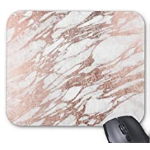 Chic Elegant White and Rose Gold Marble Pattern Mouse Mat Non-Slip Rubber Mouse Pad
