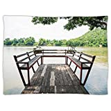 iPrint Super Soft Throw Blanket Custom Design Cozy Fleece Blanket,Travel Decor,Wooden Seem Terrace on the Riverside Romantic Calming in Woods Image,Dark Brown and Green,Perfect for Couch Sofa or Bed