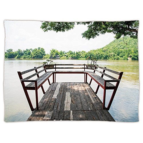 iPrint Super Soft Throw Blanket Custom Design Cozy Fleece Blanket,Travel Decor,Wooden Seem Terrace on the Riverside Romantic Calming in Woods Image,Dark Brown and Green,Perfect for Couch Sofa or Bed by iPrint (Image #5)