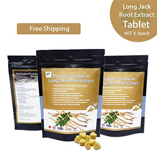Malaysia Pure 200:1 Long Jack Tongkat Ali Root Powder Extract Tablet 2-3% Eurycomanone 30 Tablet X 3 Packs