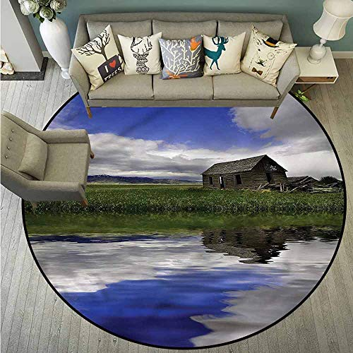 (Round Rugs,Country,Rustic Cottage Cloudy Sky,All Season Universal,2'11