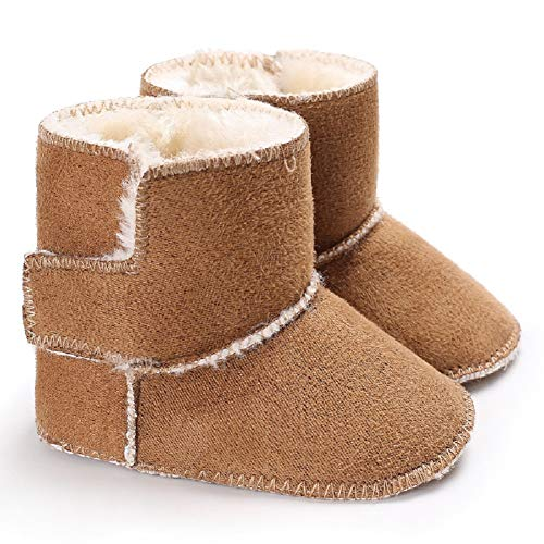 (Fnnetiana Toddler Snow Shoes Autumn Winter Warm Infant Newborn Snow Boots Crib Shoes Prewalker Unisex Boy Girl (12-18 Months, Brown))