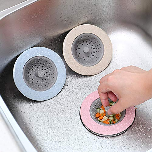 (Kitchen Sink Sewer Filter Basket Floor Drain Stopper Strainer Tool -Beige)