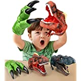 Geyiie Dinosaur Hand Puppet Toys, Soft Rubber Dinosaur Claws and Head, Animal Realistic Dino Glove Puppets for Kids,Boys,Girls,3,4,5,6,7,8