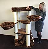 Cat Tree for Large Cats – Corner Cat XXL Brown – 59 inch 105 lbs 5 inch Ø poles – Total size 59x24x22 inch – Cat Scratcher scratching post activity center Cat Trees for large cats. Quality product fro Review