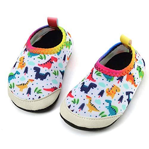 Panda Software Baby Boys Girls Water Shoes Infant Barefoot Quick -Dry Anti- Slip Aqua Sock for Beach Swim Pool White-Dinosaur/18-24 Months M US Infant