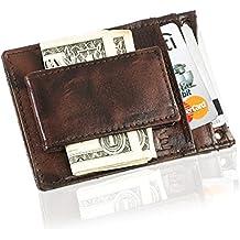 Suvelle Mens Leather Slim Magnetic Money Clip Front Pocket Minimalist Wallet With Detachable Neck Strap W019