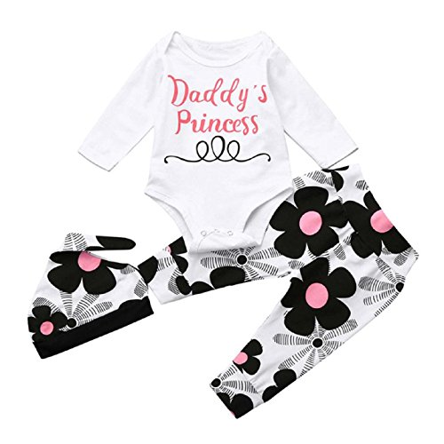 Baby Clothes Set, PPBUY Infant Girl Letter Romper Tops + Floral Pants + Hat 3Pcs Set (3M, - Petites Dressing Knit