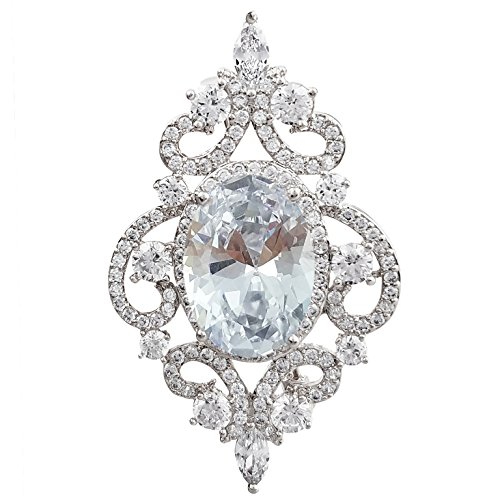 SELOVO Sparkle Vintage Bridal Pin Brooch for Wedding Cubic Zirconia Silver Tone by SELOVO