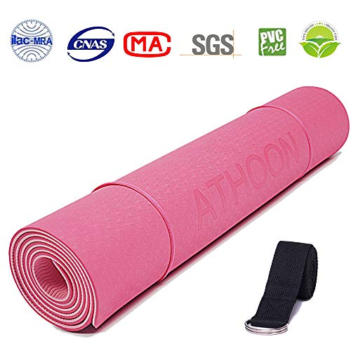 ATHOON Thick Yoga Mat with Strap 2018 Eco Friendly Non Slip Exercise TPE Yoga Mat for Men & Women Outdoor and Indoor