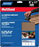 Norton 47710 Multisand Sandpaper 220 Grit, 9-Inch x 11-Inch, 5-Pack