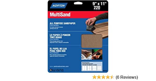 """47710 Norton 76607 General Purpose MultiSand Sheet 11 in X 9 in Norton Co 9/"""" quot 220 Grit"""