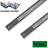 Probrico Brackets Included Soft Close 18-inch Full-Ext Drawer Slide 100-Pound Capacity Rear Mount,10 Pairs Sets