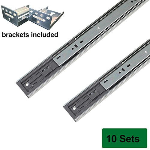 Probrico Brackets Included Soft Close 18-inch Full-Ext Drawer Slide 100-Pound Capacity Rear Mount,10 Pairs Sets by Probrico