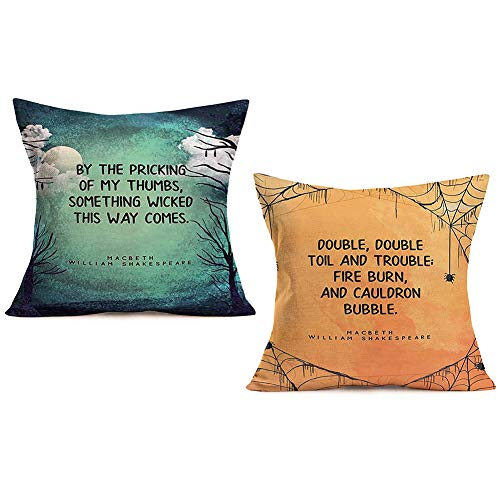 Halloween Quotes Shakespeare (ShareJ Willam Shakespeare Halloween Quote Pillow Covers 18x18 Inch Cotton Linen Pillow Cases Cushion Cover for Home Sofa Bedding Decor, Set of)