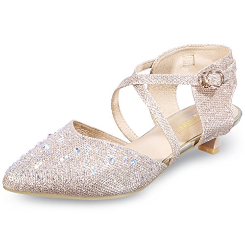 (IDIFU Women's INI Abby Sequins Kitten Heels Ankle Strap Bridal Pump Gold 8.5 B(M) US)
