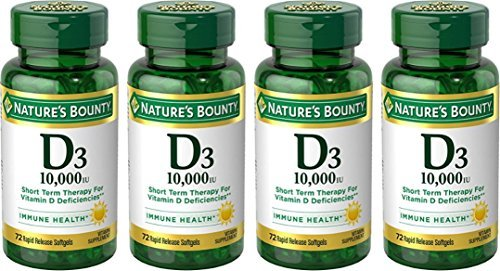 Nature's Bounty Vitamin D3 10,000 IU, 72 Softgels, (Pack of 4)