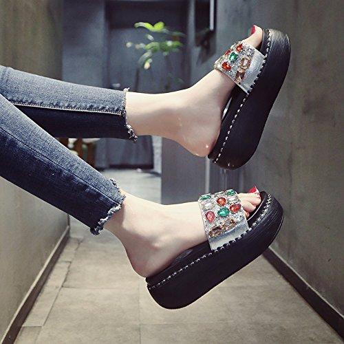 Mujer Plateado de Zapatos en Verano 5Xwq4