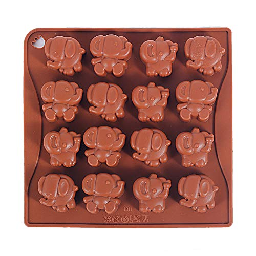 Baby Shower Shaped Candy (Yunko 16 Cavity Elephant Silicone Chocolate Mold Ice Cube Tray Jello Fudge Mold Candy Gum Mould)