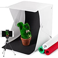 Portable Photo Studio Kit, WORSPODAY LED Light Box Photography - Foldable Mini Photo Shooting Tent - White/Black/Green/Red Background - Tripod Stand Holder for Smart Phone - USB Cable