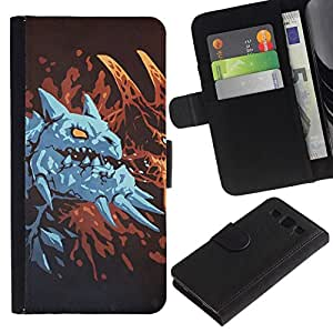 NEECELL GIFT forCITY // Billetera de cuero Caso Cubierta de protección Carcasa / Leather Wallet Case for Samsung Galaxy S3 III I9300 // Dragón azul