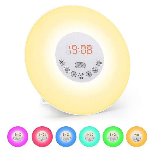 Luces-despertador, solawill Wake Up Light Simulación de Amanecer y Atardece Radio FM 6 Luces LED de Colores 6 Sonidos Naturales 10 Niveles de Brillo ...