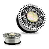 Pair Of Single Flared Solid Plugs With O-ring & Antique Glitter Opal Silver Tribal Shield 316L Surgical Steel