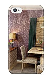 New Arrival Cover Case With Nice Design For Iphone 4/4s- Open Space Dining And Kitchen With Plum-colored And Teal Drapes