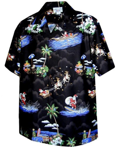 (Pacific Legend Christmas Santa Claus Hawaiian Shirt (2X, Black))