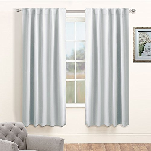 Silver White Bedroom Curtain Panels - PONY DANCE Home Decor Light Block Room Darkening Back Tab/Rod Pocket Window Treatments Drapes Energy Efficient for Dining Room, 42