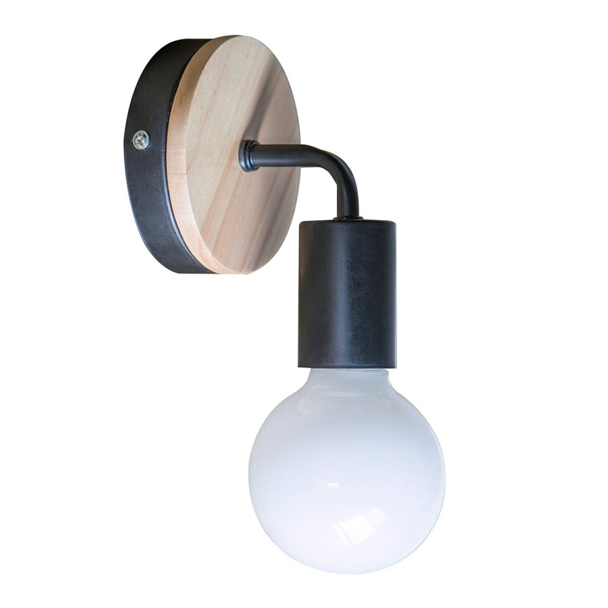 YUENSLIGHTING 2Pcs Lampada da parete in ferro battuto E27 40W Lampada da parete moderna in legno da parete Lampada da letto di lettura leggera per la camera da letto vivente (nessuna lampadina)