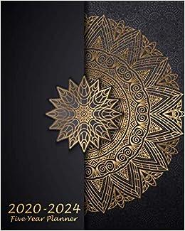 2020-2024 Five Year Planner: Black Mandala, 60 Months ...