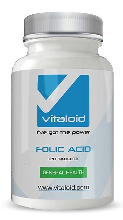Ácido Fólico Vitaloid - 120 Comprimidos - FABRICADO EN UK - El ácido fólico es Imprescindible
