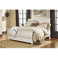 Willannet Casual Whitewash Color Wood King Sleigh Bed
