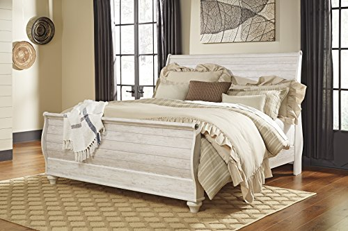 Willannet Casual Whitewash Color Wood King Sleigh Bed by FurnitureMaxx