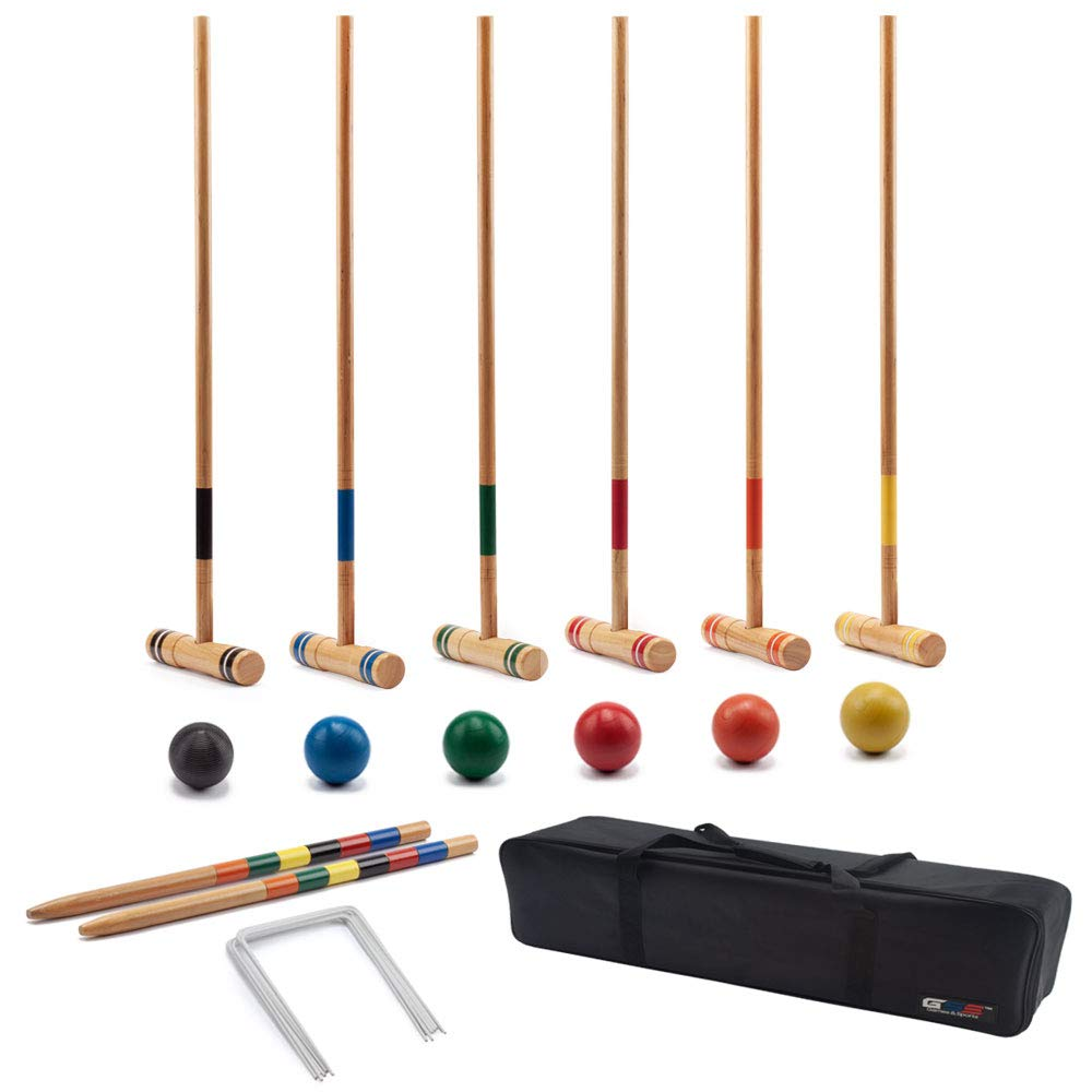 GSE Games & Sports Expert Premium 6-Player Croquet Set for Adults & Kids (Several Styles Available) (Deluxe)