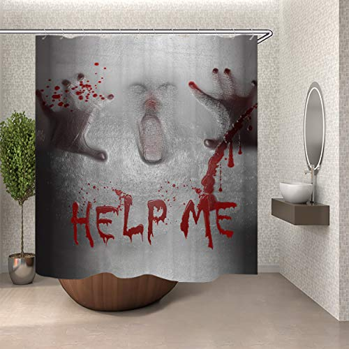 SARA NELL Halloween Shower Curtain Help Me Shower Curtain with 12 Hooks,Halloween Scene of a Demon Man with Bloody Hands Shower Curtain,Horrible Scary Shower Curtain, Waterproof & Durable (Help Me Shower Curtain)