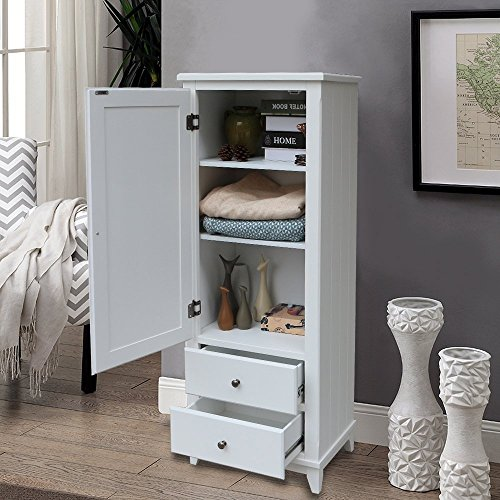 Wardrobe Single (SW Wood Single Wardrobe Cupboard 2 Storage Drawer White)