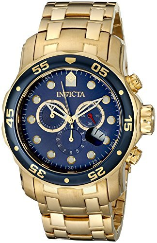 Invicta Men's 0073 Pro Diver Collection Chronograph 18k Gold-Plated Watch with Link (Invicta Men Diver Watch)