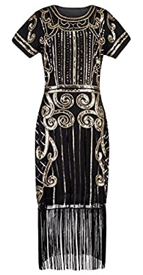 Z&X Women's 1920s Gatsby Beaded Sequin Embellished Fringed Flapper Dress