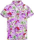 Funky Hawaiian Shirt, Shortsleeve, Flamingos, Purple, L
